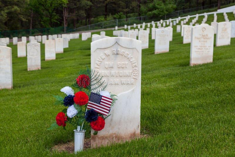美西战争战士墓石 库存照片