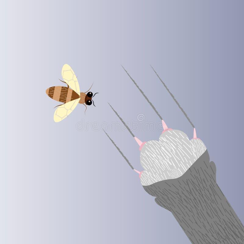 猫和蜂 猫s爪子捉住一只蜂 皇族释放例证
