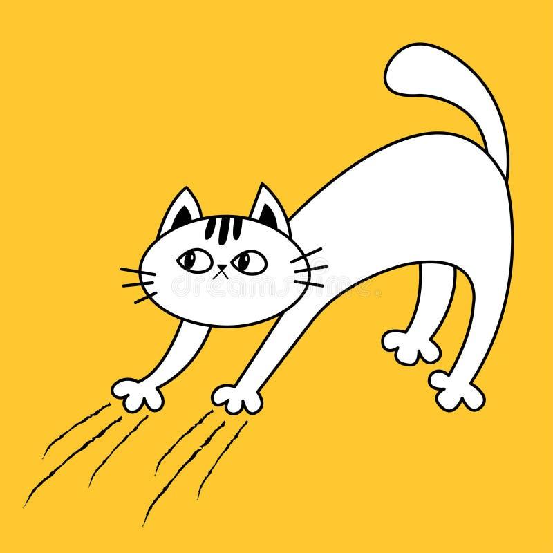 猫曲拱后面 小猫抓 抓痕轨道 乱画线性剪影 黑等高剪影 逗人喜爱的滑稽的漫画人物 库存例证