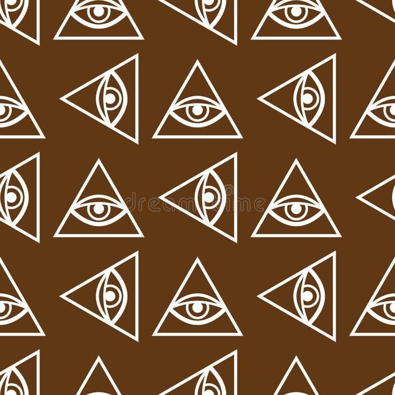 眼睛上帝不可思议的无缝的样式 神秘的石工背景 也corel凹道例证向量 向量例证