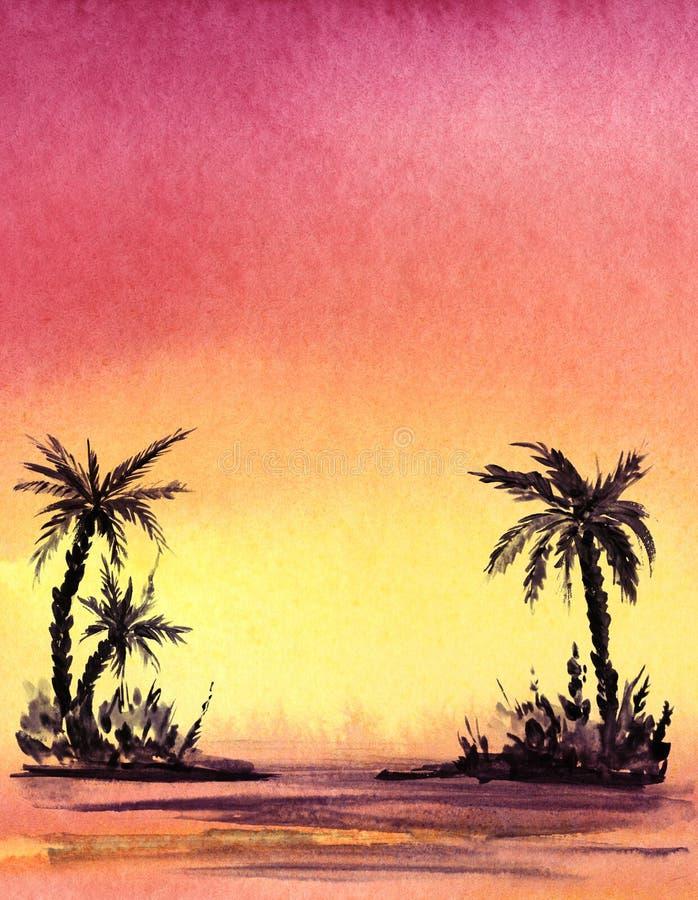 真正的水彩背景 棕榈trree黑暗的剪影在梯度背景的 库存例证
