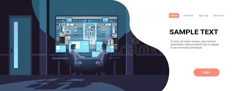 看在玻璃机器人生产工厂机器人产业人工智能黑暗后的两位工程师显示器 库存例证