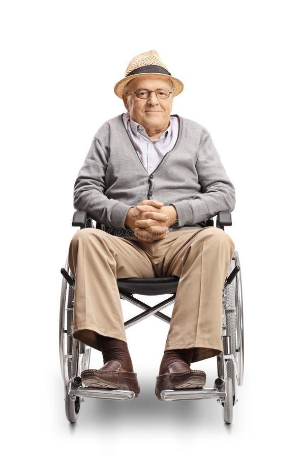 看照相机的轮椅的残疾老人 库存照片