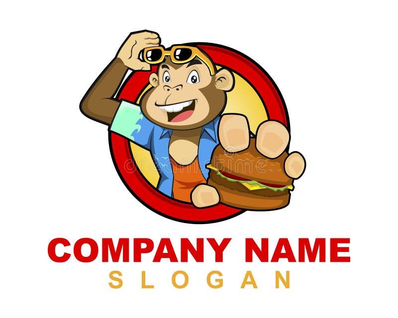 猴子汉堡商标图象 库存例证