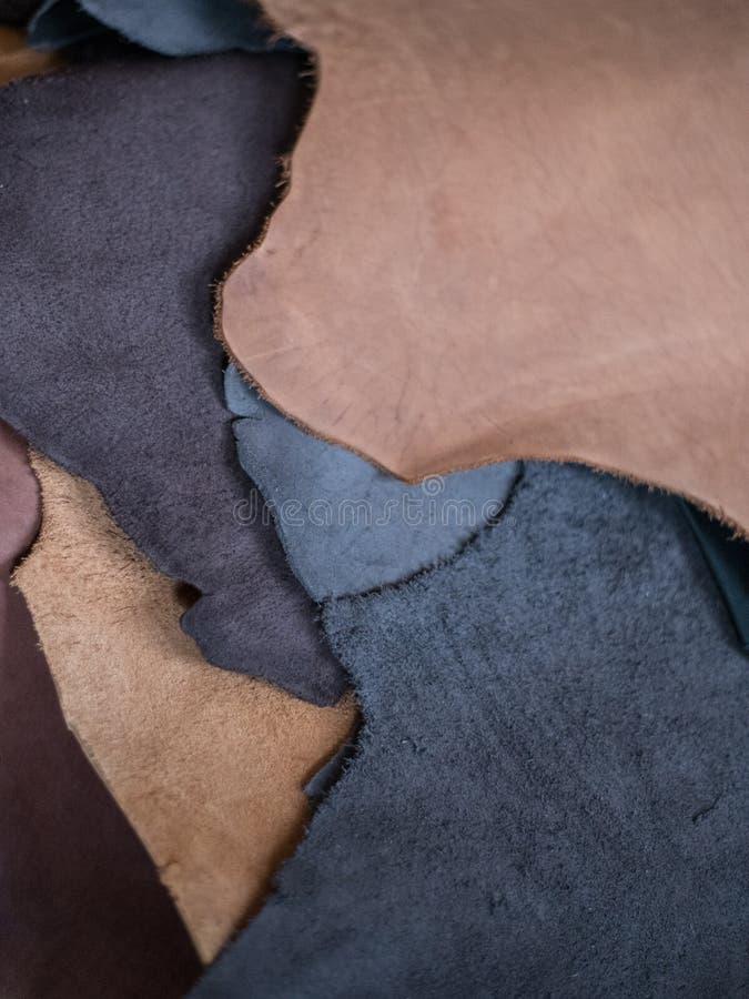 皮革片断片段颜色区别 库存图片