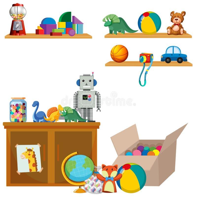 玩具场面在架子和碗柜的 皇族释放例证