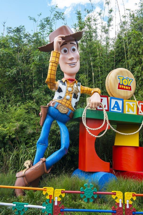 玩具总动员土地,伍迪,迪斯尼世界 免版税库存图片