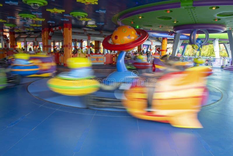 玩具总动员土地,迪斯尼世界,旅行,外籍人茶碟 免版税库存图片