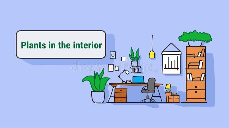 现代与植物的工作场所内阁室办公室工作区室内设计在墙壁上不倒空人五颜六色的剪影流程 库存例证