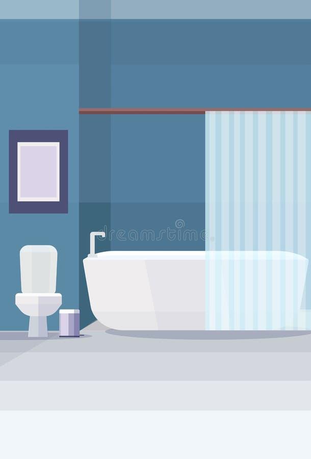 现代卫生间洗手间和浴缸家具没有人空的浴室室内设计平的垂直 库存例证