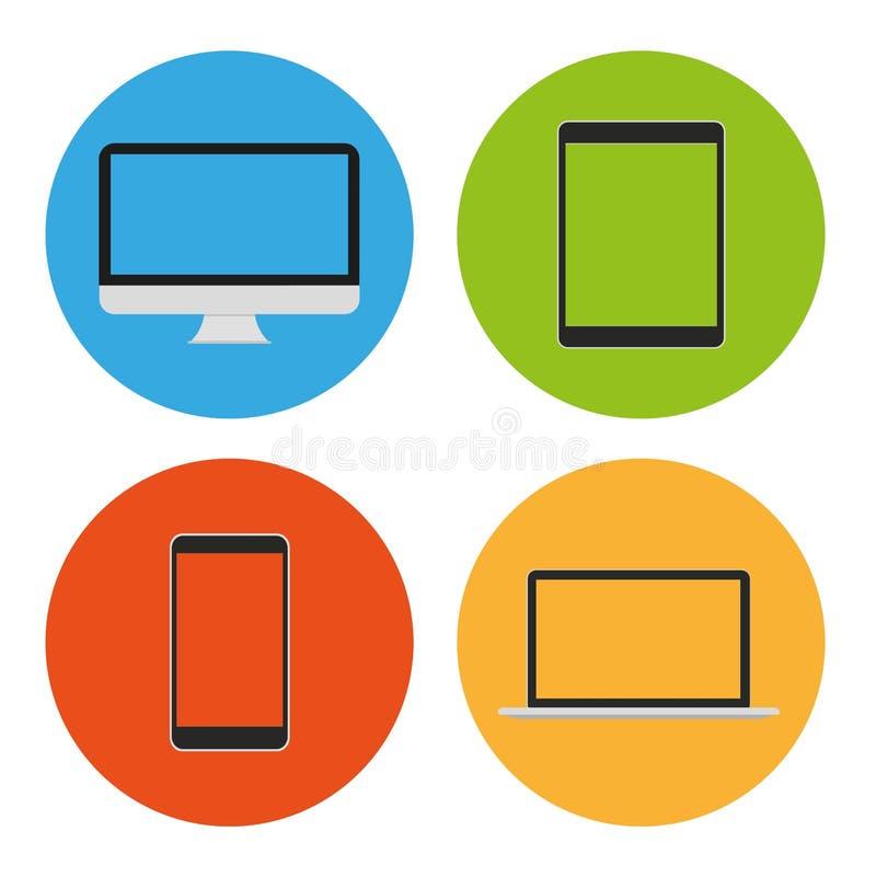 现代平的象触板、膝上型计算机和智能手机 向量例证
