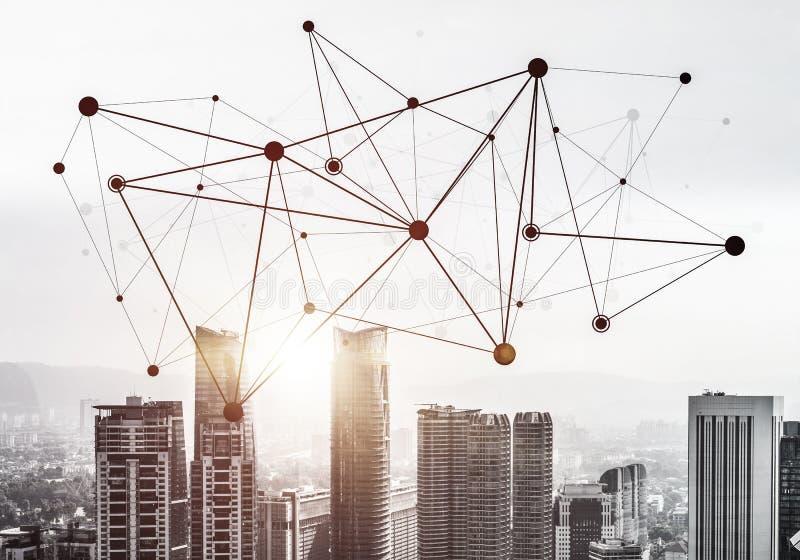 现代城市和社会网作为概念全球性网络的 向量例证
