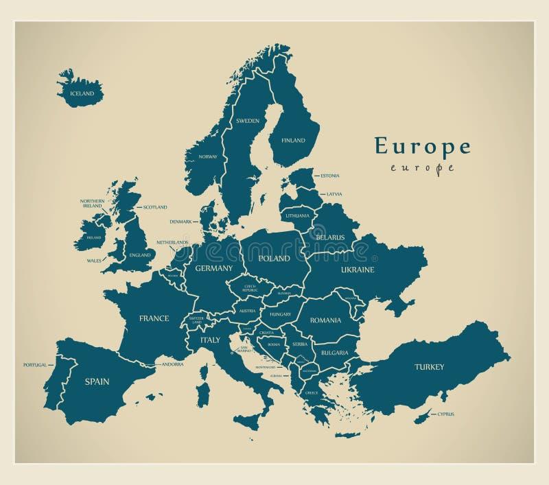 现代地图-有国家和标签的欧洲 库存图片