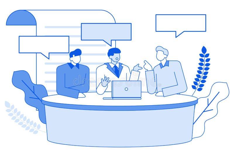 现代动画片平的人字符谈话在体育,精明,经济电视谈话节目,讨论概念 分级显示 向量例证