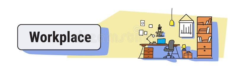 现代办公室室内设计工作场所书桌概念工作内阁家具剪影乱画水平的横幅 库存例证