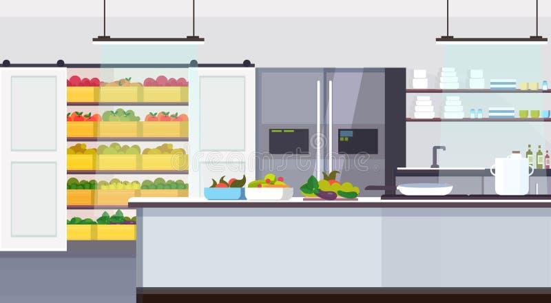 现代商业餐馆厨房内部与健康食品水果和蔬菜烹调和空烹饪的概念 库存例证