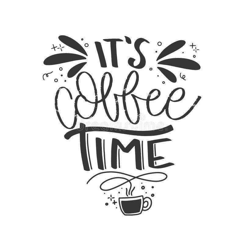 现代咖啡字法印刷术 手拉的字法词组 现代刺激书法装饰 Scrapbooki 向量例证