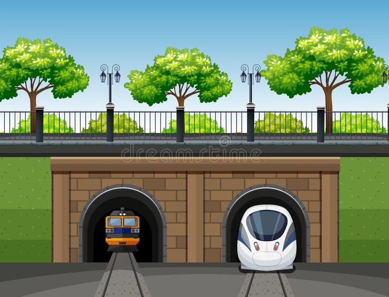 现代和经典火车场面 向量例证