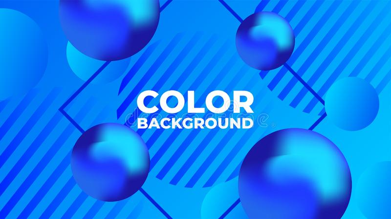 现代梯度蓝色球充满活力的颜色有蓝色背景 向量例证