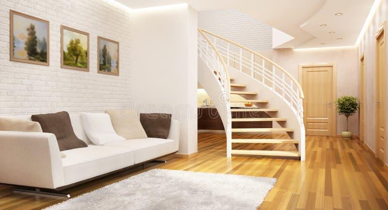 现代楼梯在一个大房子里 免版税库存图片
