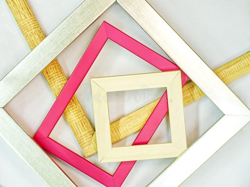 现代木照片相框 库存图片
