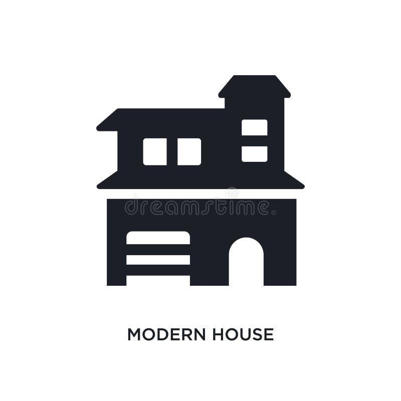 现代房子被隔绝的象 从不动产概念象的简单的元素例证 现代房子编辑可能的商标标志标志 皇族释放例证