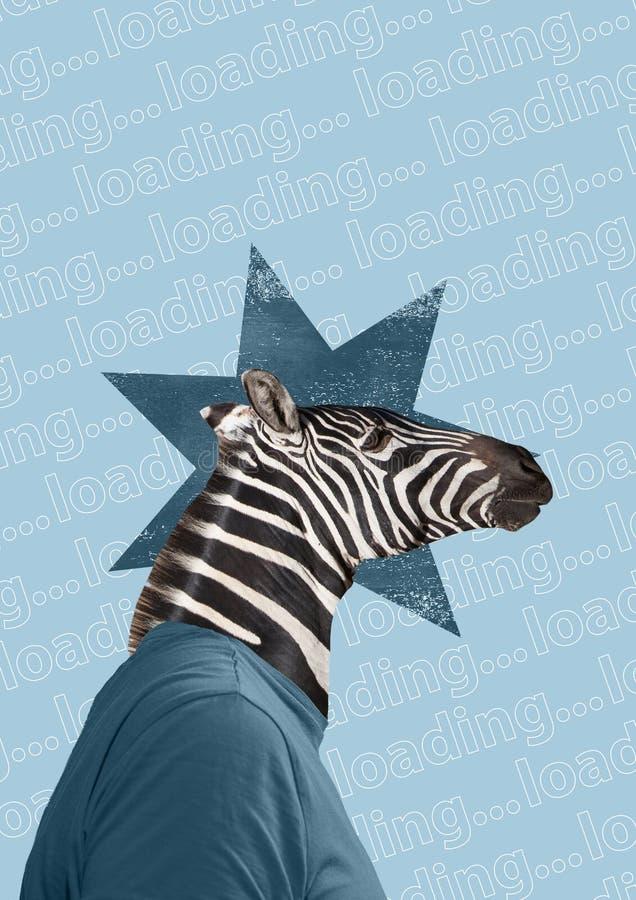 现代拼贴画 概念有长颈鹿头的衣服人在颜色背景 免版税库存图片