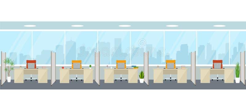 现代空的办公室内部与工作场所 与全景窗口的办公室空间 向量例证
