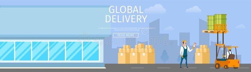 现代玻璃存贮 货物装载过程 库存例证