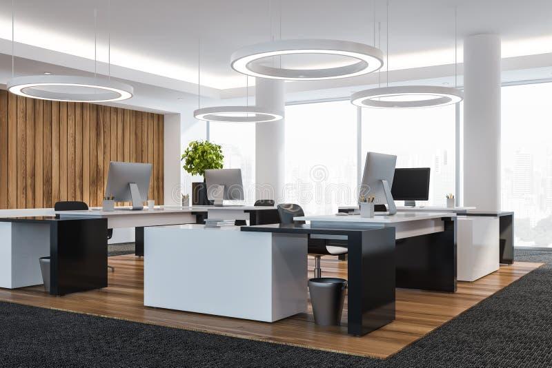 现代白色空的办公室内部 与计算机的工作区 3d回报 1次鸟飞行s 皇族释放例证