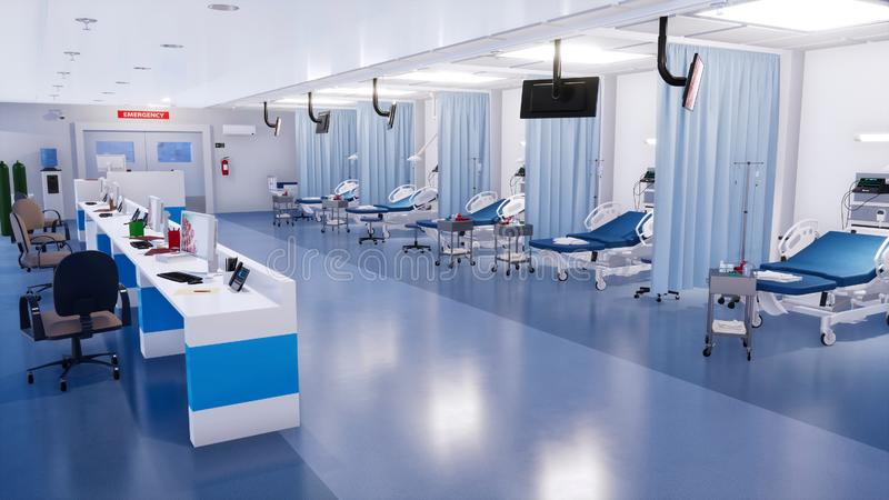 现代诊所3D空的急诊室内部  库存例证