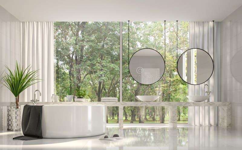 现代豪华白色卫生间有自然图3d回报 库存例证