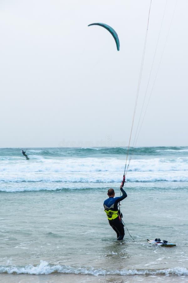 现实室外照片kiteboarding 图库摄影