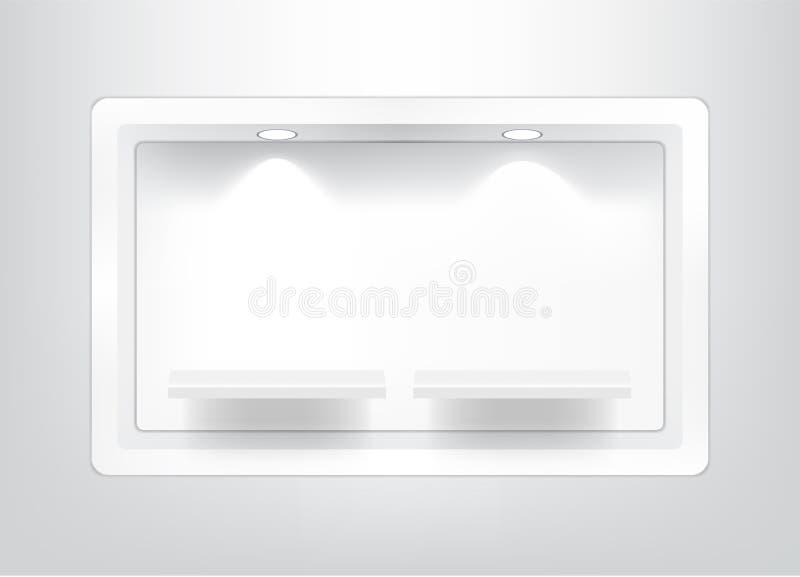 现实空的正方形架子的嘲笑内部的能显示与光的在白色背景例证的产品和阴影 向量例证