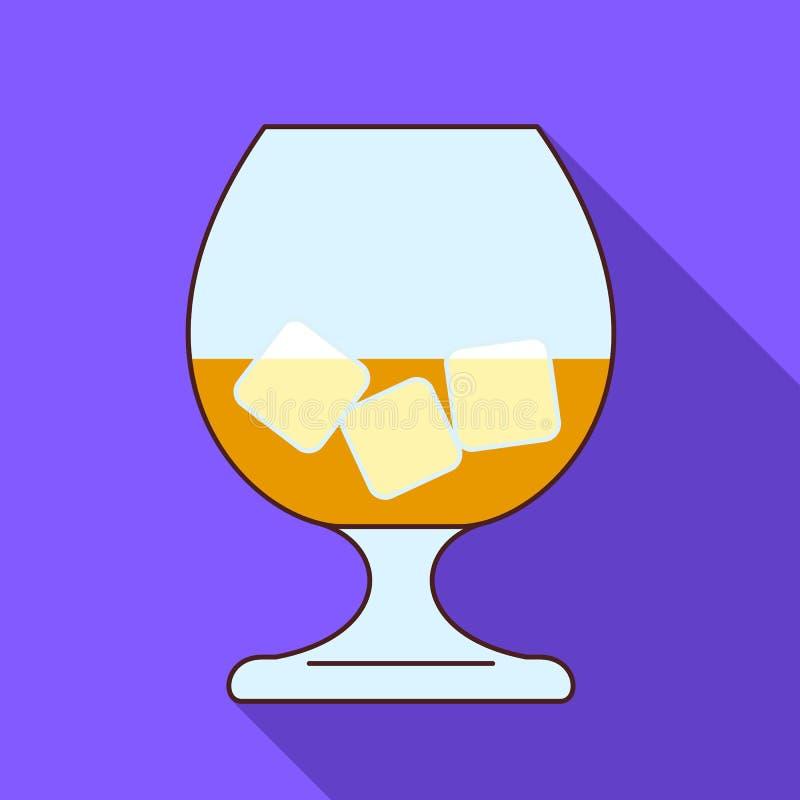 玻璃威士忌酒冰块象,平的样式 库存例证