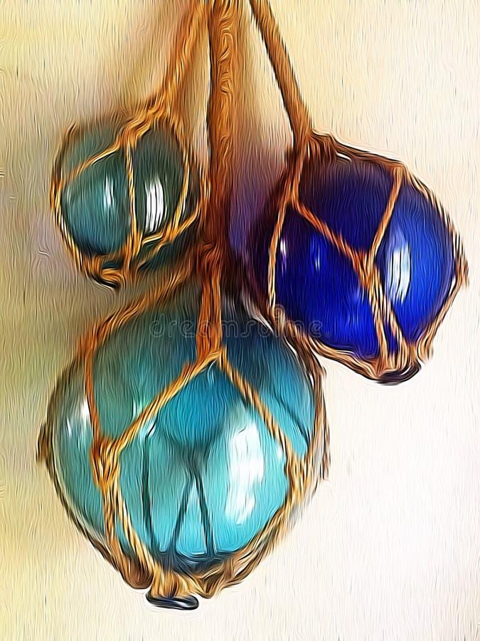玻璃和绳索bouys照片编辑与油漆刷应用 库存图片