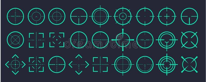 瞄准目标和瞄准对舷窗标志标志 十字准线象的创造性的传染媒介例证设置了被隔绝  向量例证