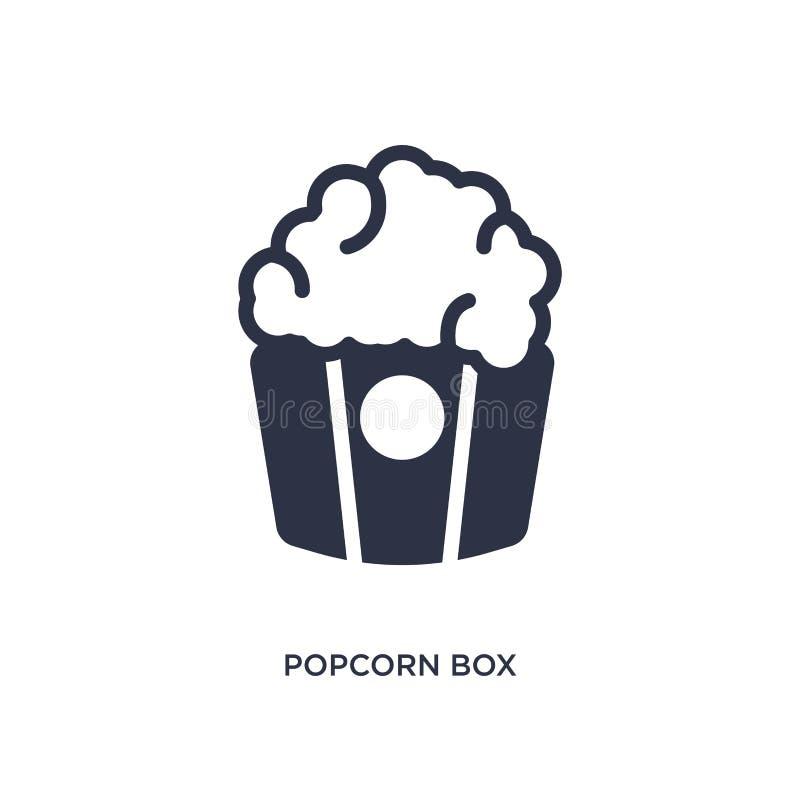 玉米花在白色背景的箱子象 从戏院概念的简单的元素例证 皇族释放例证