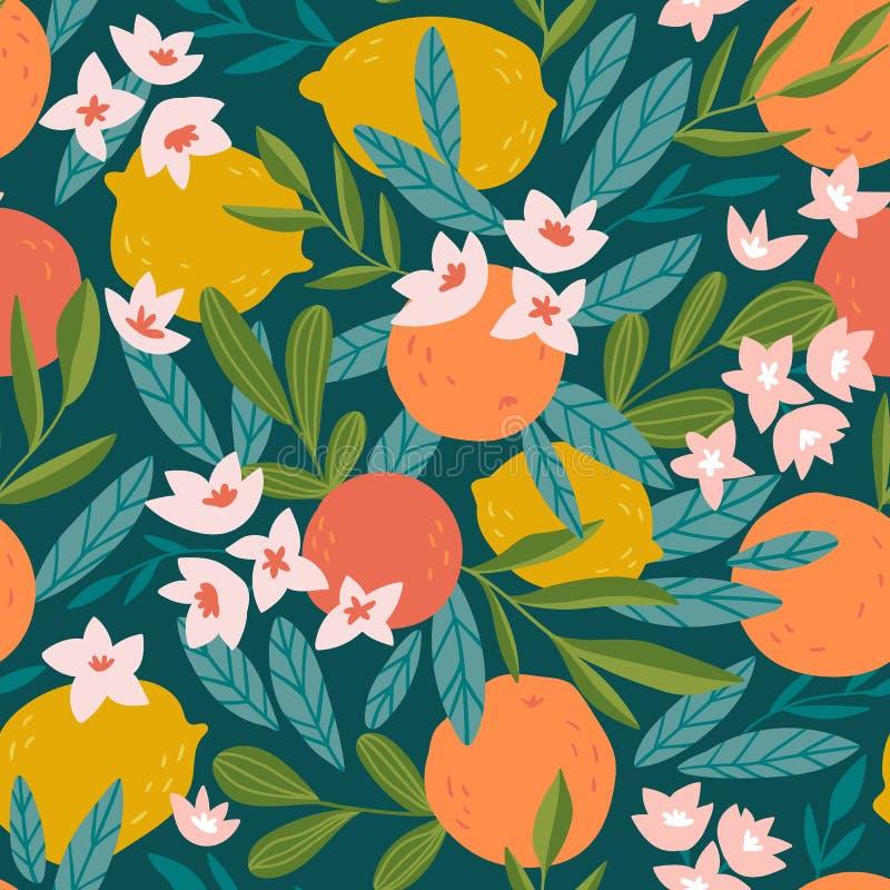 热带水果无缝的样式 柑橘树手中拉长的样式 传染媒介织品设计用桔子、柠檬和花 向量例证
