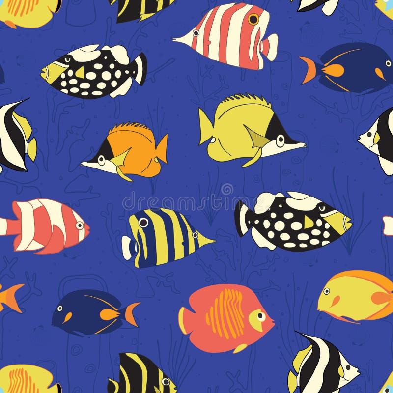 热带礁石鱼无缝的传染媒介样式 游泳的五颜六色的鱼背景 蝴蝶鱼,小丑引金鱼,年轻女人, 向量例证
