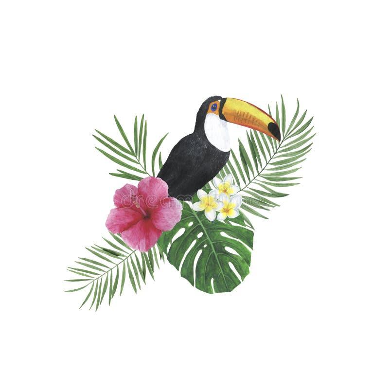热带花叶子水彩框架例证植物的春天装饰设计贺卡邀请 库存照片