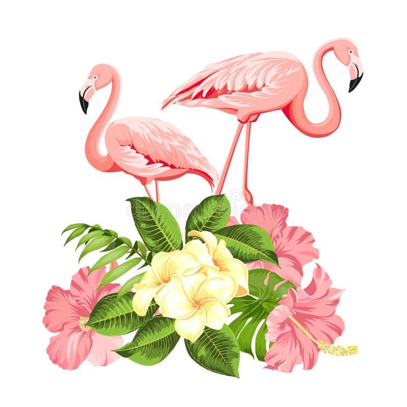 热带鸟和花例证 时尚包裹,织品、请帖和您的模板的夏天印刷品 皇族释放例证