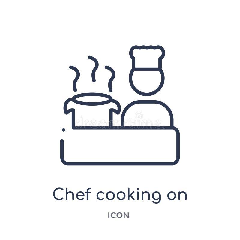 烹调在从食物概述汇集的火炉象的线性厨师 稀薄的线烹调在火炉象的厨师隔绝在白色背景 库存例证
