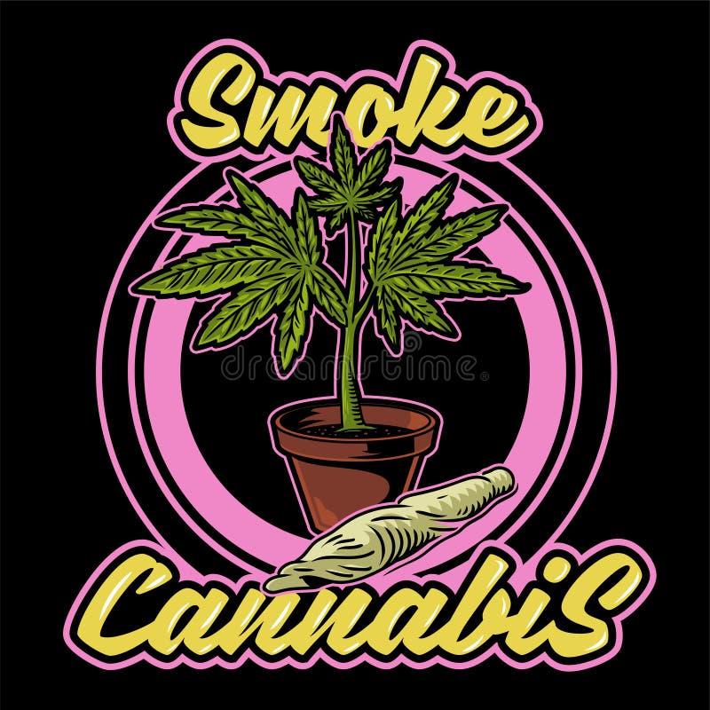 烟大麻印刷品 向量例证