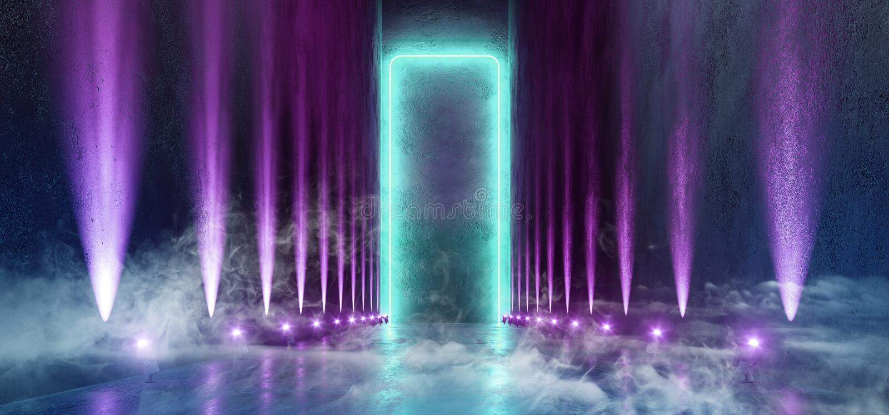 烟科学幻想小说未来派霓虹背景大巨大的黑暗的空的难看的东西具体长的霍尔画廊室隧道走廊聚光蓝色 向量例证