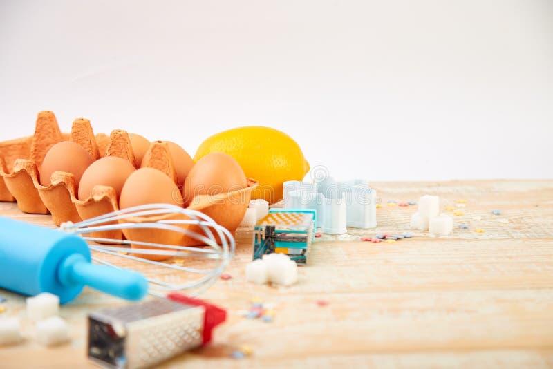 烘烤或烹调成份 面包店框架 点心成份和器物 免版税库存照片