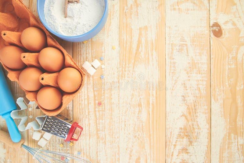 烘烤或烹调成份 面包店框架 点心成份和器物 库存图片