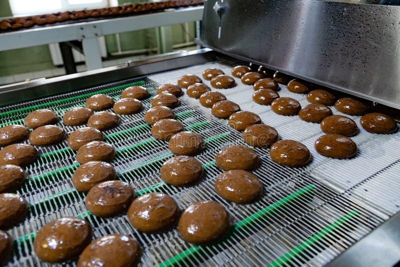 烘烤生产线 在釉涂层以后的曲奇饼 免版税库存图片