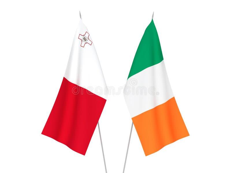 爱尔兰和马耳他旗子 库存例证