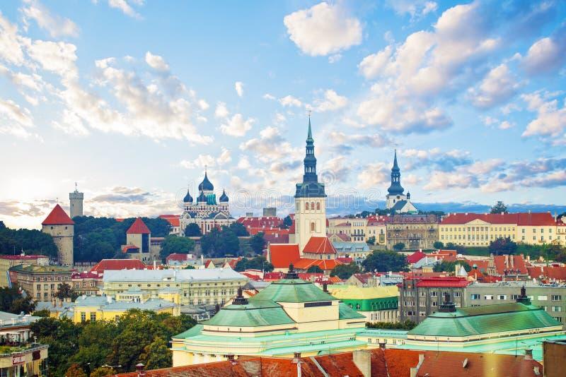 爱沙尼亚塔林 旅游城市塔林老镇都市风景地平线  免版税库存照片